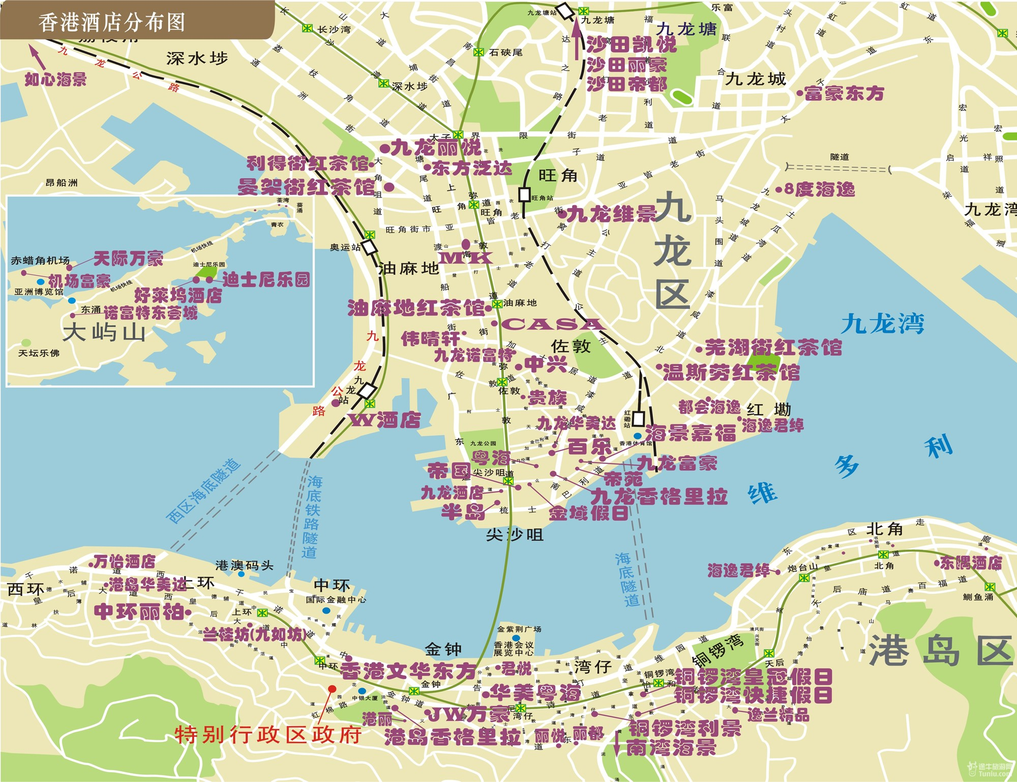 香港旅游地图全图 桂林旅游地图全图 西安旅游地图全图