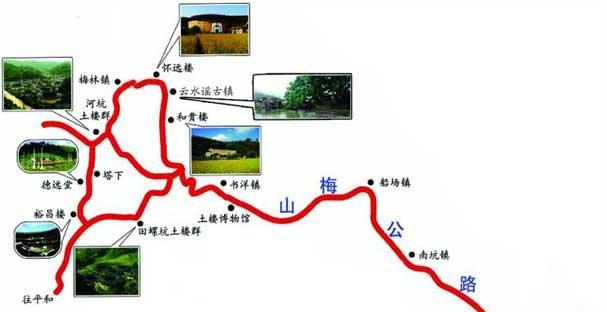 景区地图; 南靖土楼手绘地图; 【图】南靖土楼_攻略_介绍