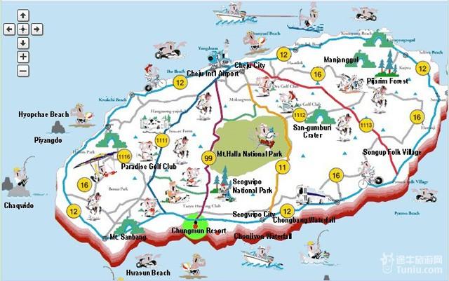 行 地图帮助 济州岛地图图片