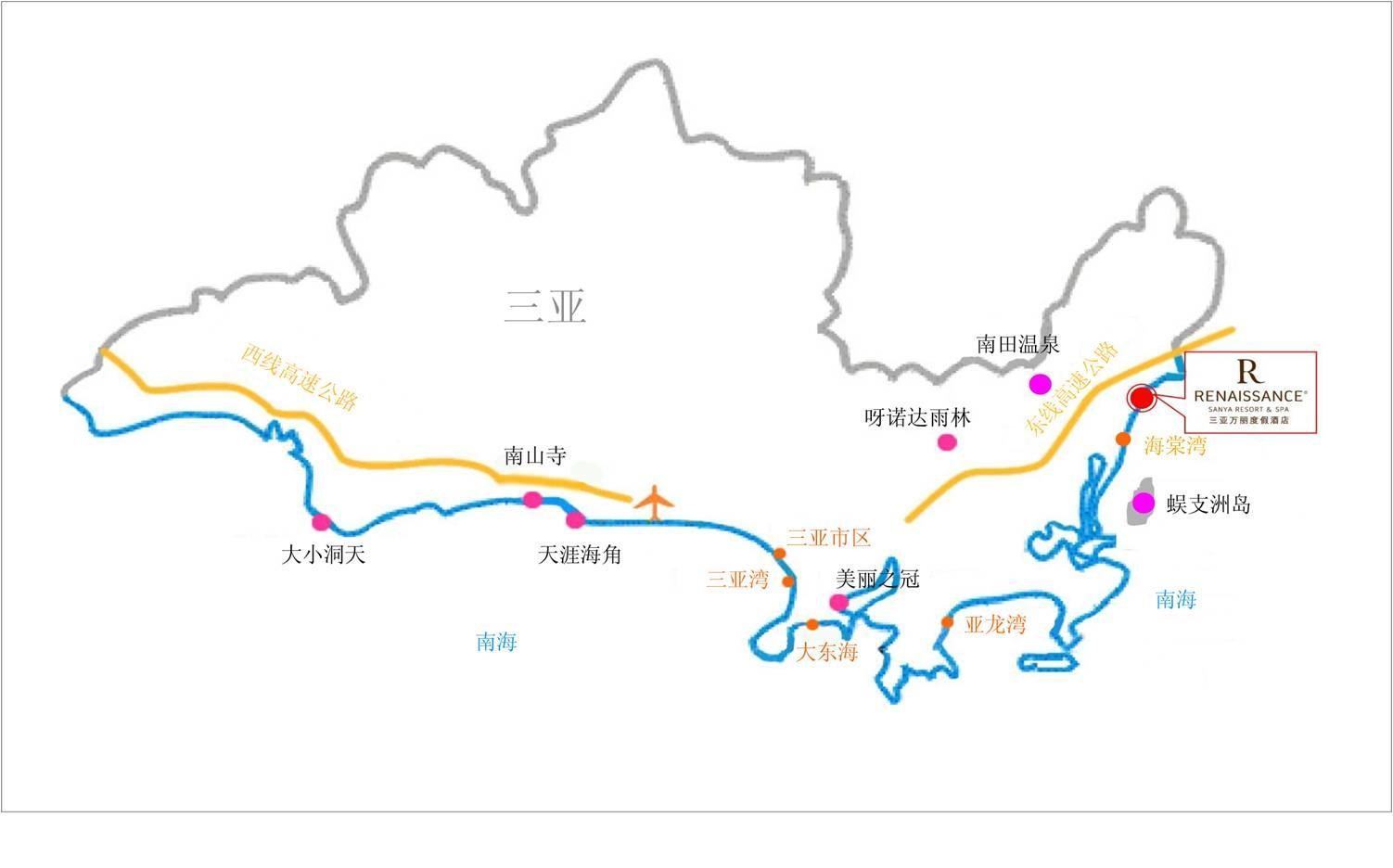 三亚海棠湾万丽酒店地图