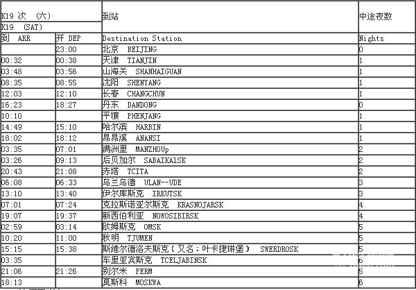 k19列车时刻表